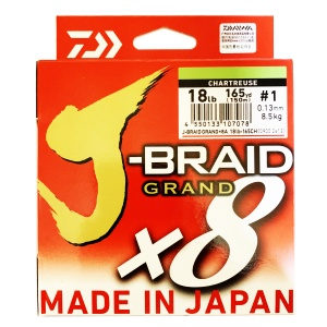 Шнур Daiwa J-Braid Grand X8 Chartreuse 18lb, 150m, #1, 8,5kg, 0.13mm NEW!